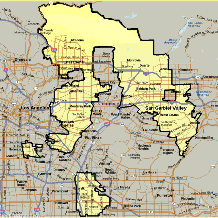 San Gabriel Valley Zip Code Map.Icfn Coverage